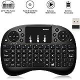 Mini teclado inalámbrico, goobang Doo 2.4G Mini Teclado con ratón touchpad para Android TV Box, Smart TV, Mini PC, HTPC, consola, Computer–Color Negro