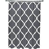 E por diseño French Quarter geométrico impresión cortina de ducha, acero