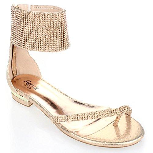 Aarz signore delle donne serata informale Comfort piatto Diamante Slipper gladiatore sandalo Dimensioni (Nero, Argento, Oro, Champagne)