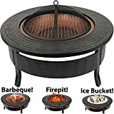 RayGar 3 in 1 Round Fire BBQ Ice Pit Patio Heater Stove Brazier Metal Outdoor Garden Firepit + Protective Cover FP34New, Copper