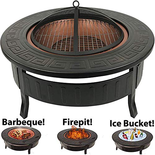 RayGar 3 in 1 Round Fire BBQ Ice Pit Patio Heater Stove Brazier Metal Outdoor Garden Firepit + Protective Cover FP34-New, Copper