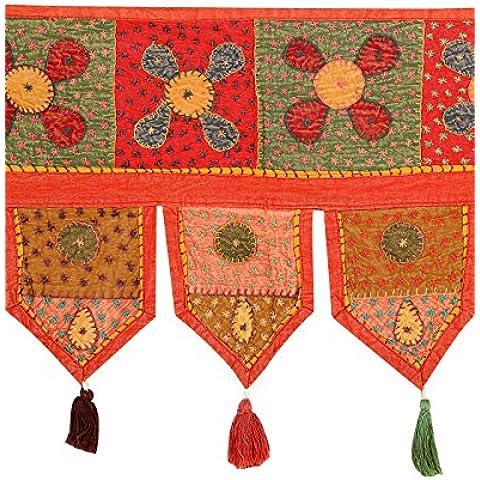 Rajrang De moda Toran rojo Algodón Floral trabajo Patch Door Valance Sala