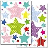 WANDKINGS Sterne mit Muster Wandsticker Set, 42 Aufkleber, 2 DIN A4 Bögen, Gesamtfläche 60 x 20 cm