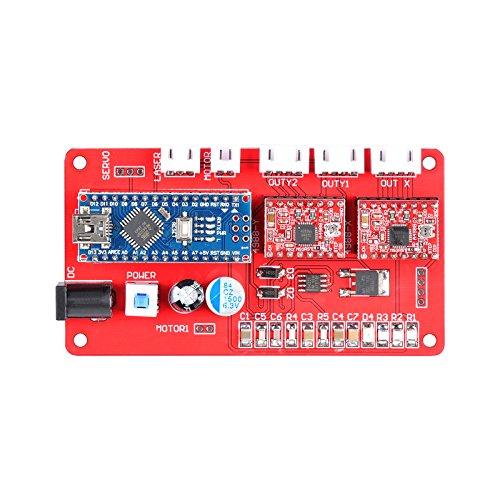 SHUOGOU CNC Graviermaschine Bedienfeld, Triaxialsteuerung, Motortreiber Controller Board Control Panel Für DIY Laser (Red)