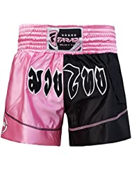Muay Thai Boxing Kick Boxing Martial Arts Shorts Pink Black Shorts (LARGE)
