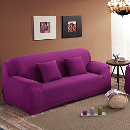 Wayward Elastische schonbezug Sofa,Volltonfarbe Stretch sofabezug Couch Anti-rutsch Couch-abdeckungen Möbel-Protector für 1 2 3 4 Kissen Sofa Für Hund und Kinder Sofa Handtuch-Lila-C Ottomane