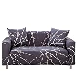 Sofa Slipcover Stretch Fabric Flower Bird Pattern Elastic Chair Loveseat Couch Settee Sofa Covers 1-Piece Pet Dog Protector Navy Blue (3 Seater, Tree Branch)