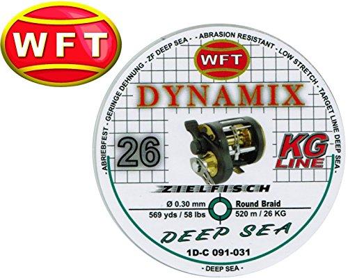 WFT Dynamix Round Deep Sea grün 520m, geflochtene Schnur zum Meeresangeln, Meeresschnur für Tiefsee, Schnur für Multirolle, 0,30mm 26kg