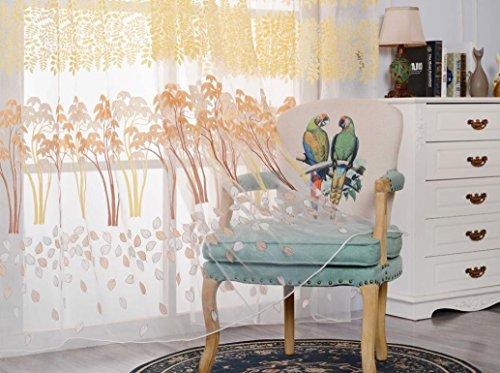 Preisvergleich Produktbild zycshang Hohe Qualität Fashion Leaf Gardinen Solide Farbe Fenster Behandlung Platten Tür Tuch Modern gelb