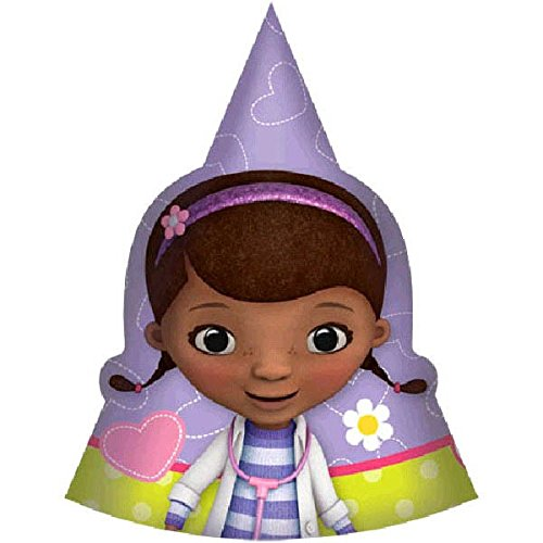 Doc McStuffins Birthday Party Paper Cone Hats Wearable Supply , Purple/Yellow, 6. by Amscan (Party Birthday Doc Mcstuffins Supplies)