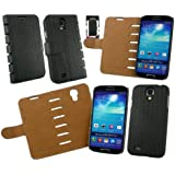 Emartbuy® Samsung Galaxy S4 I9500 Pu Leder Schlank 2 In 1 Wallet Case Tasche Schutzhülle Schwarz / Tan Mit Kreditkartenfächer Und Displayschutzfolie