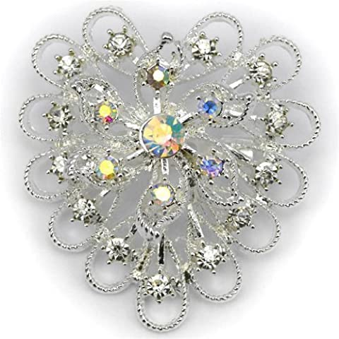 Elixir77UK Silver Colour Heart Flower Wedding Bridal Gift Brooch With Plain and AB Crystals UK