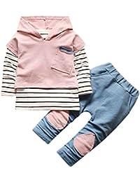 Vovotrade 2-6 Años Diseño Unisex Niños Bebé Chicas Niña Chico Conjuntos Encapuchado Capucha Patwork Raya Camiseta Blusa + Pantalones…