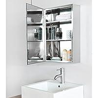 Stainless Steel Bathroom Mirror Cabinet Wall Mount Single Door Storage Unit 600 x 400mm, MissSnower YSG05