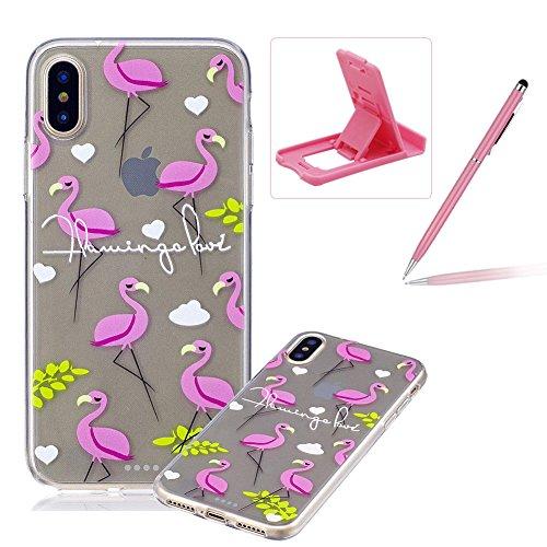 Schutzhülle Flexible TPU für iPhone 8,Herzzer Handytasche klare Weich Silikon Gel Case Ultra Leichte Flexibel Cover Schlanke Schale Kratzfeste Anti-Fingerprint Sehr Dünn Backcover für iPhone 8 + 1 x F Niedlich Flamingo