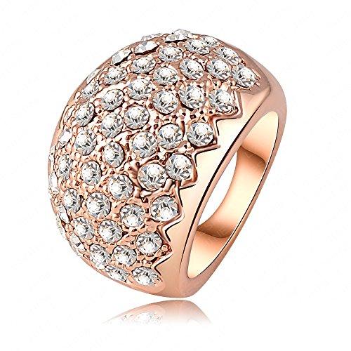 AnaZoz Schmuck 18K Rose Gold Platte Österreichisches Kristall Sawtooth Ring Damen