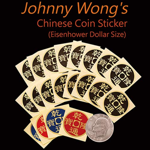 Johnny Wong's Chinese Coin Sticker 20 pcs (Eisenhower Dollar Size) - Magic with Coins - Trucos Magia y la Magia