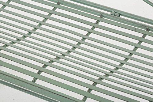 CLP Nostalige Metall-Gartenbank SELENA im Landhausstil, aus lackiertem Eisen, 109 x 43 cm – aus bis zu 6 Farben wählen Antik Grün - 6