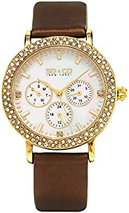 So & Co New York Madison Women's Quartz Watch with Mother of Pearl Dial Analogue Display and Brown Lea