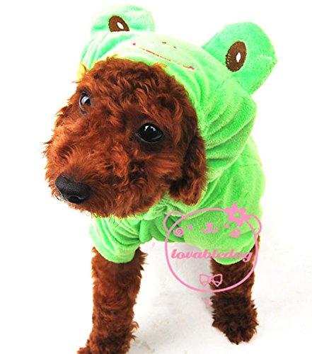 Imagen de pet cat dog rana terciopelo pijama chándal para disfraz pequeño perro ropa verde tallas xs, s, m, l y xl alternativa