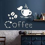 Mhdxmp Vinyl Wandtattoo Kaffeetasse Wandaufkleber Liebhaber Vogelhaus Dekor Kaffeebohnen Wand Kunst Wandbild Cafe Dekoration Fenster Aufkleber 42 * 37 Cm