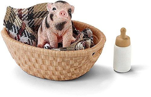 Schleich 42294 - Mini Schwein mit Fläschchen, mehrfarbig