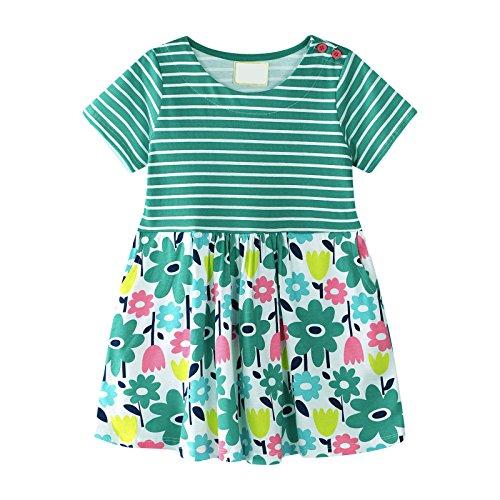 wolle Streifen Blumen Kurzarm Sommer Kleid JM6799 3T ()