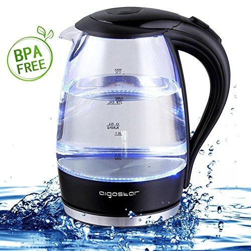 Aigostar Adam 30GOM - Glas Wasserkocher mit LED-Beleuchtung, 2200 Watt, 1,7 Liter, kochtrocknender Schutz, BPA frei, schwarz. Exklusives Design