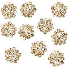 10pcs Adornos Botón Cristal Flor de Ciruelo Diamantes de Imitación 20mm