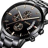 Reloj para Hombres Marca de Lujo LIGE Acero Inoxidable Reloj de Cuarzo analógico Moda de Negocios Impermeable Cronógrafo Reloj Negro Masculino