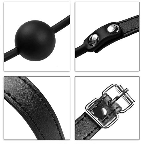 Knebel,Kobeauty Silicone Ball Gag Mundknebel mit Fetisch BDSM Sex Bondage Spielzeug Rollespiele (1 pcs,Schwarz) - 3