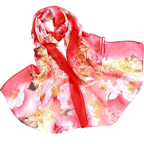 Xmiral Warmer Herbst und Winter Schal, Chiffon Pure Color Print Winter Hals warme Strickgarn Schal(Rot)