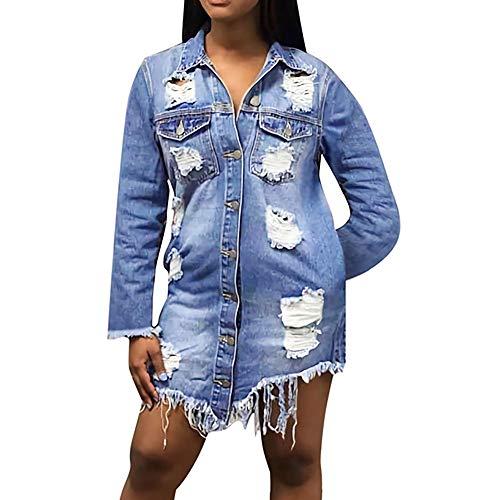 Übergröße Jeansjacke Damen Briskorry Frauen Herbst Übergangsjacke Mantel Parka Trenchcoat Outwear Beiläufige Kapuzen Pullover Jacket