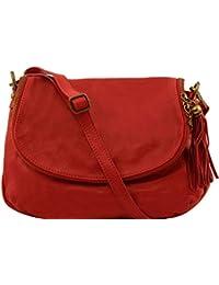 Tuscany Leather - TL Bag - Sac bandoulière besace en cuir souple avec pompon - Rouge foncé