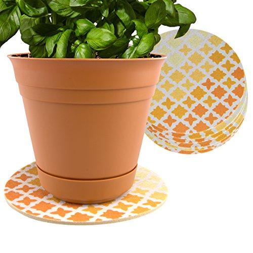 Plastec 6Innen Matte für Kunststoff Oder Keramik Blumentopf Untersetzer Boden Pflanzgefäß Untersetzer Set Orange