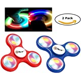 Juguete con luces LED dedo spinner spinner reductor de la tensión girando los dedos hermosa con las luces del LED rojo y azul de 2carrera dedo