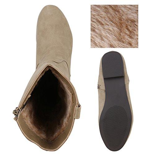 Damen Stiefel Flache Boots Schlupfstiefel Khaki All