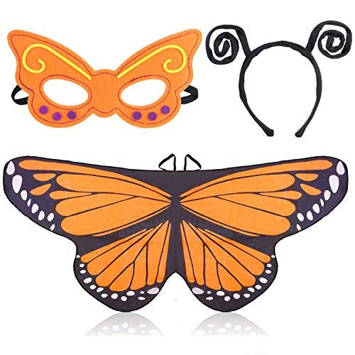 Beelittle Costume Butterfly Wings 3 Pièces Déguisement Fantaisie Set Ailes Papillon Cape Châle avec Bandeau Antenne et Masque pour Filles Enfants (Orange)