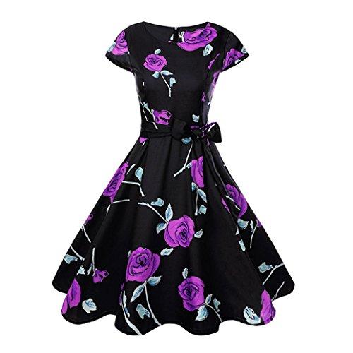 Neun Vintage Kleid, Yesmile Vintage 50er Jahre Blumen Swing Party Kleider Damen Schwarz Rockabilly Retro Hepburn Cocktailkleider Frauen Kurzarm Rundhals Swing Skirt Abendkleid (2XL, Lila)