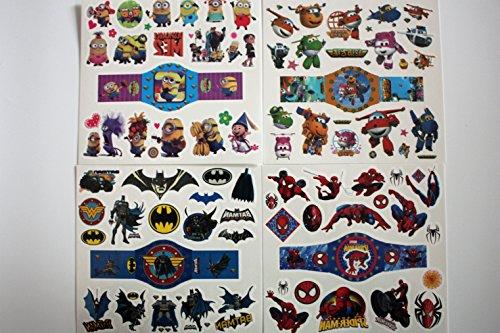 wolga-kreativ Kinder Tattoo Set ( mehr als 80 Tattoos!) für Jungs Junge ATO Held Superheld (temporäre Transferfolie, hautfreundlich) Kindertattoos temporär Haut (Superhelden Haut Passt)