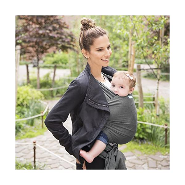 MOBY Evolution Baby Wrap Carrier for Newborn to Toddler up to 30lbs, Baby Sling from Birth, One Size Fits All, Breathable Stretchy Made from 70% Viscose 30% Cotton, Unisex Moby 70% Viscose / 30% Cotton Knit One-size-fits-all Grows with baby, from newborn to toddler 5