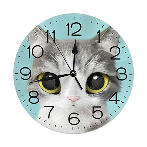 dfegyfr Wall Clock Cute Lovely Kitten Cat Turquoise Decorative Wall Clock  Silent Non Ticking - 9 8Inch Round Easy to Read Decorative for