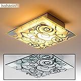 Deckenleuchte quadratisch aus Glas – Deckenspot mit floralem Dekor in Schwarz – E27 Deckenlampe mit Spiegel vor dem Lampenschirm – ideal als Deckenlampe Wohnzimmer – Küche – Deckenspot Glas