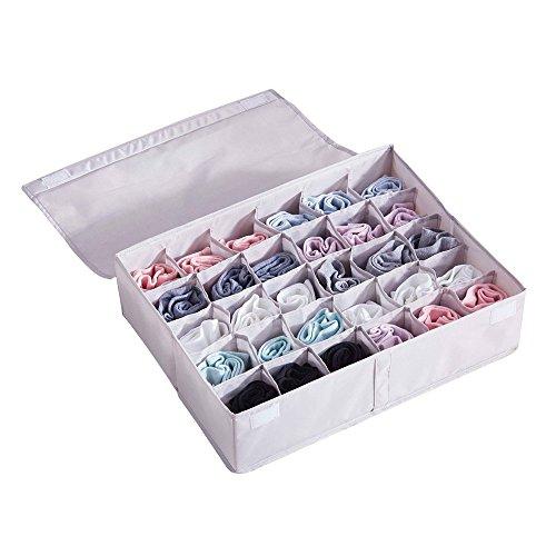 TOPCHANCES 30Zelle Unterwäsche Schublade Box Closet Organisatoren 45* 34* 12cm Socken BH Trennwände Faltbar Box mit Magic Stick, Staub/Feuchtigkeit Proof Wasserdicht, 3Farben Grau -