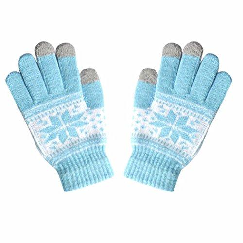 Erwachsene Winter Touchscreen Handschuhe Upxiang Schneeflocke Leafs Muster Stricken Weiche Handschuhe Männer Frauen Smartphone SMS Halten Warme Handschuhe (Hellblau) (Magie Stricken Handschuhe)