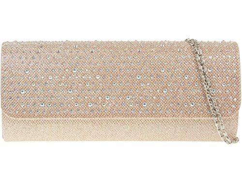 Girly HandBags Satin Gewebt Clutch Tasche Diamanten Champagner