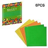 NextX 6 Stück Bauplatte für Classic Bausteine Plastik Grundplatte 25 x 25 cm - Hellgrün + Orange + Gelb
