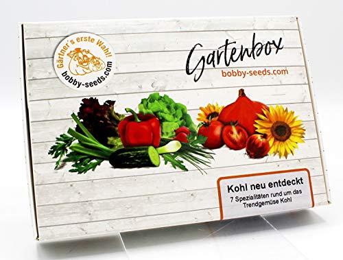 Kohl-Spezialitäten Samen Set von bobby-seeds, 7 Sorten-Spezialitäten zum Trendthema Kohl als Set in repräsentativer Gartenbox, Samen-Set mit 7 Sorten und praktischen Stecketiketten