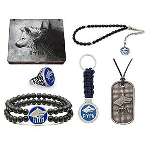 Gök-Türk Schmuckset 'Zwei Wölfe' für Herren + Gravur GRATIS: Set aus Halskette, Ring, Armband, Gebetskette – Tesbih, Schlüsselanhänger