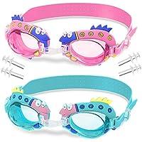 WolinTek Gafas de Natación Infantil, 2pcs Antiniebla Gafas para Nadar Antigoteo Protección UV sin Fugas incluir Enchufe de oído y Clip de Nariz Ajustable para Niñas, Niños (A)